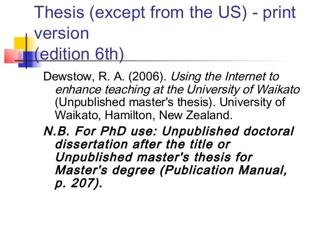Doctoral dissertation help citation apa