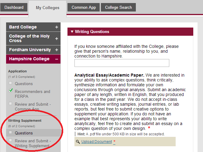 Common app essays 2013