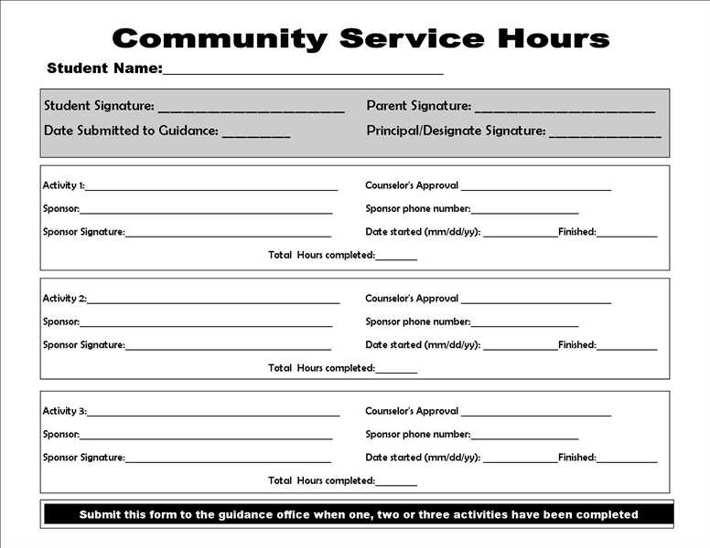 Community service form college homework help and online tutoring community service form altavistaventures Images