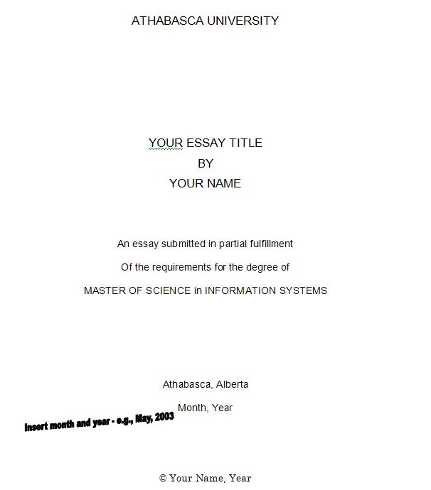sample cover page for essay