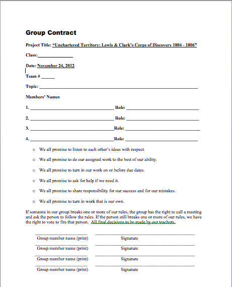 how to write a group contract