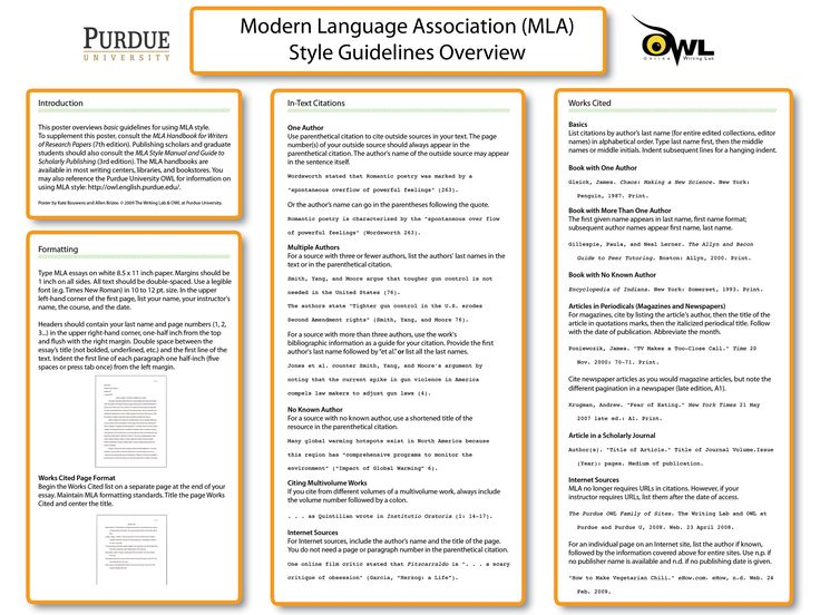 owl purdue online writing lab - Example Of A Mla Essay