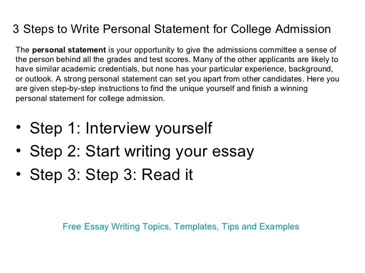 Personal statement essays for college admissions