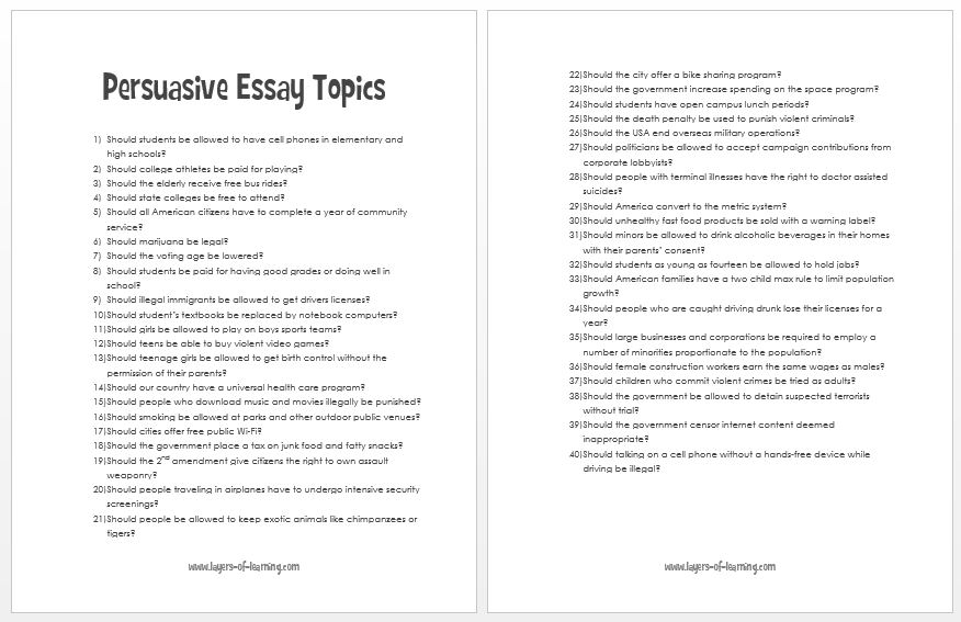 Interesting essay topics for high school students