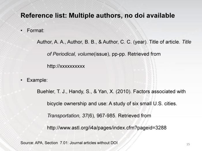 Citation 6 Authors In Apa Format