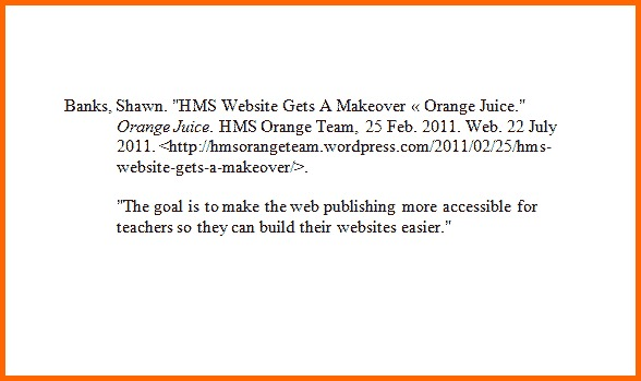 Write annotated bibliography websites
