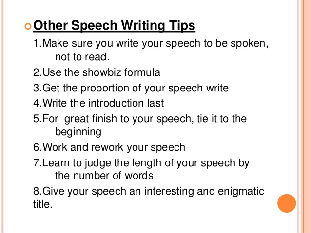 I need help writing a speech