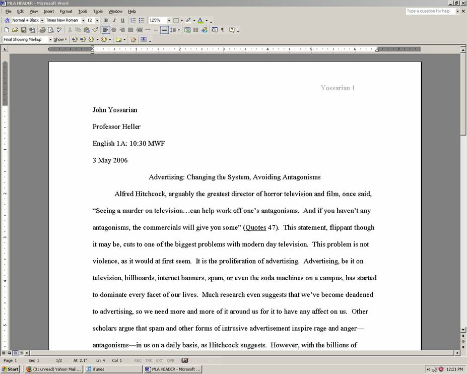 College Paper Heading