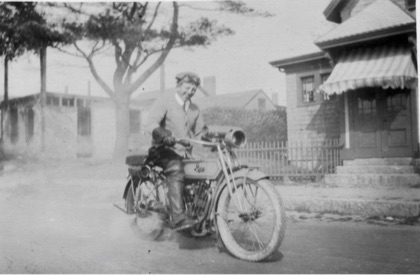 James S. Howes on a motorcycle