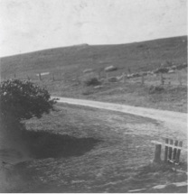 Photo of a rocky hillside across from the Fay farmhouse
